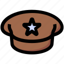 army cap, justice, officer cap, police cap icon