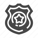 guard, police, protect, shield, star icon