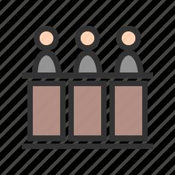 court, crime, judge, law, panel, responsibility, work icon