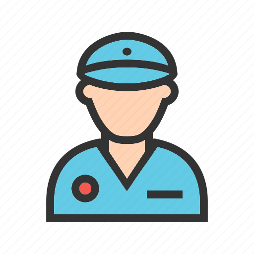 authority, hat, officer, police, policeman, standing, uniform icon