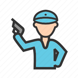 armed, gun, holding, law, officer, police, policeman icon