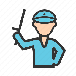 armed, holding, law, officer, police, policeman, stick icon