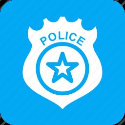 badge, emblem, enforcement, gold, law, police icon