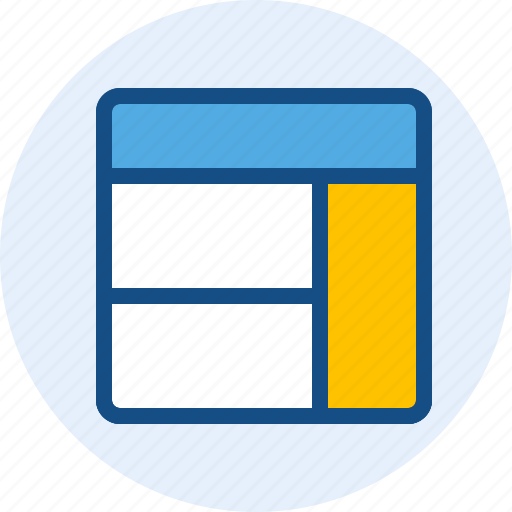 content, grid, right, sidebar, wireframe icon