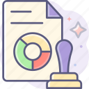 approvals, stamp, document, file icon