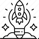 startup, idea, business, organization, launch icon