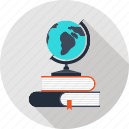 books, education, geography, globe, map, navigation, school icon