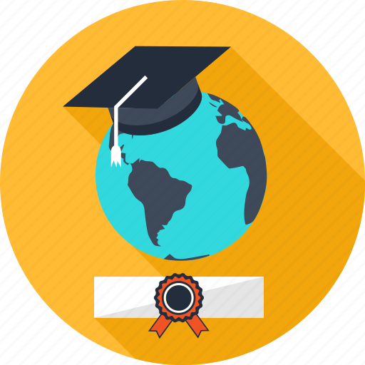 academy, certificate, education, globe, graduation, knowledge, science icon