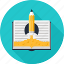book, education, idea, knowledge, pencil, rocket, startup icon