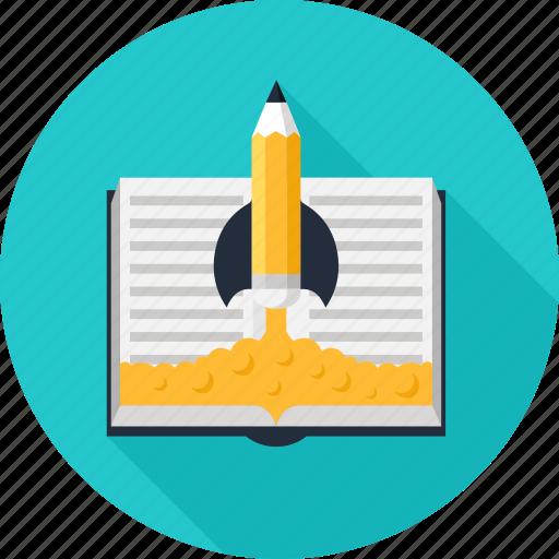 book, education, idea, knowledge, pencil, rocket, startup icon