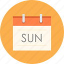 calendar, date, sun, sunday, weekend icon