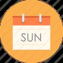 date, sun, calendar, weekend, sunday icon