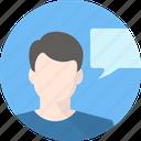 discussion, idea, man icon