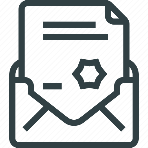 diploma, document, letter, mail, writing icon