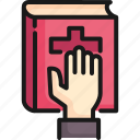 bible, court, hand, justice, law, oath, swear icon