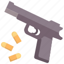 bullet, gun, handgun, pistol, protection, revolver, weapon icon