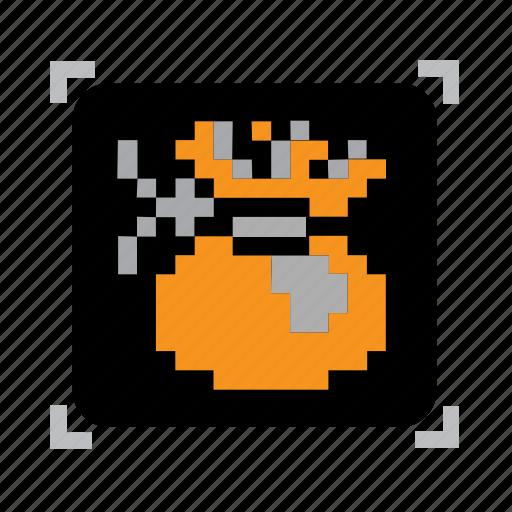 bag, money, pixel icon