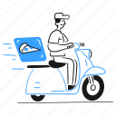 fast, food, leisure, pizza, delivery, man, motorcycle, transport, order icon