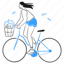 ride, bicycle, leisure, 1, flower, woman, cycling, commute, happy, workout, exercise icon