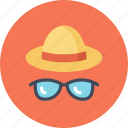 beach, fashion, glasses, hat, summer, sun, sunglasses icon
