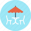 bar, cafe, chair, leisure, restaurant, summer, umbrella icon