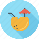 alcohol, beverage, cocktail, coconut, cold, drink, summer icon