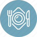 dish, food, fork, kitchen, knife, plate, restaurant icon