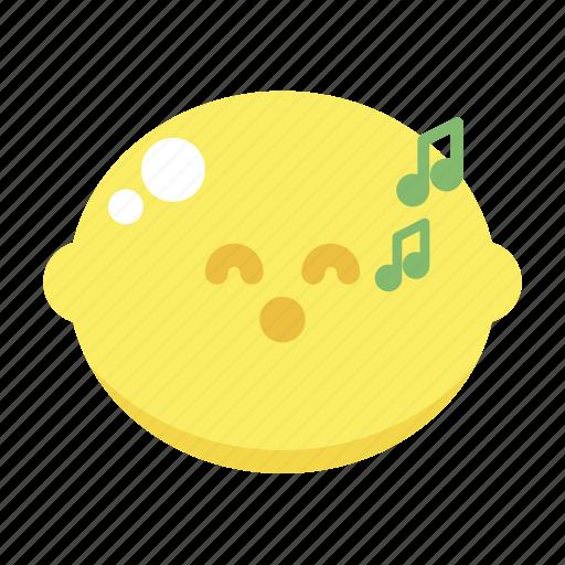 cute, lemon, sing, singing, whistle icon