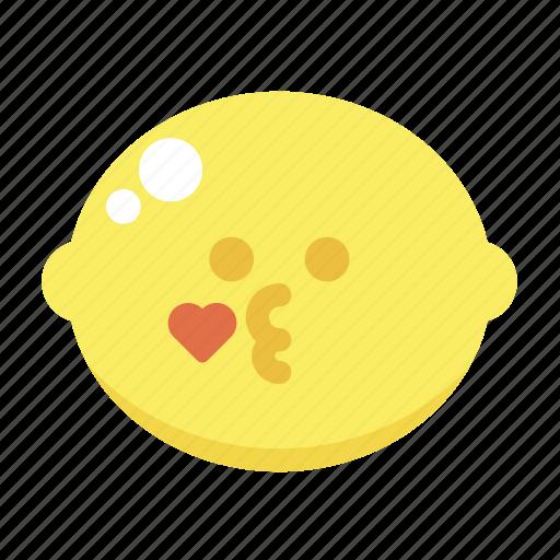 cute, kiss, lemon, love icon