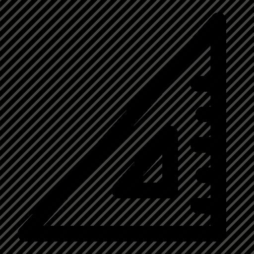 learn, math, measure, ruler, triangle icon