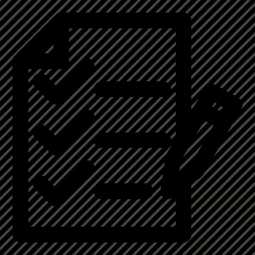 check, list, mark, paper, pencil icon