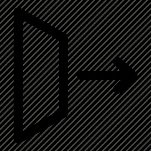 arrow, door, exit, going, window icon