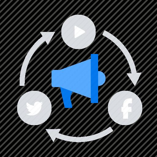 megaphone, promotion, social icon