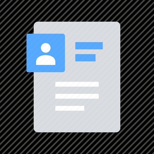 page, profile, resume icon