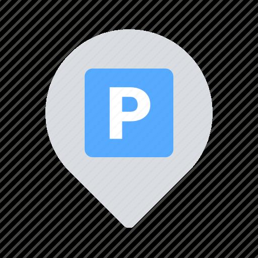 car, parking, pin icon