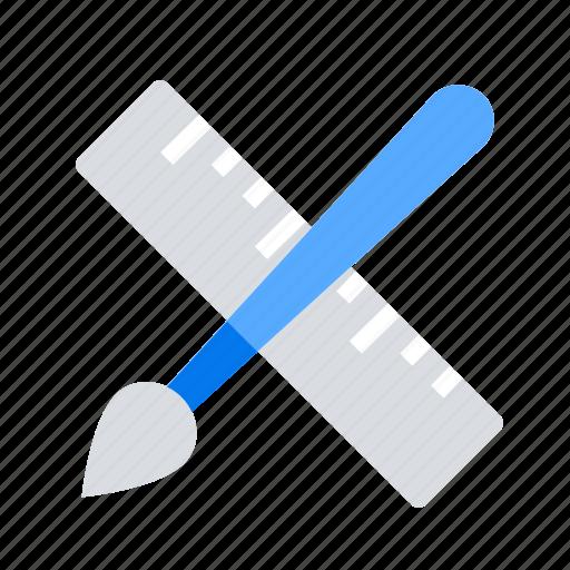 brush, design, ruler icon