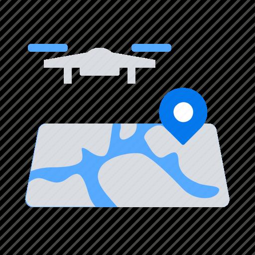 drone, location, map icon