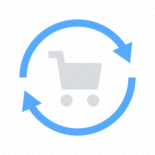 refresh, shopping cart, sync icon