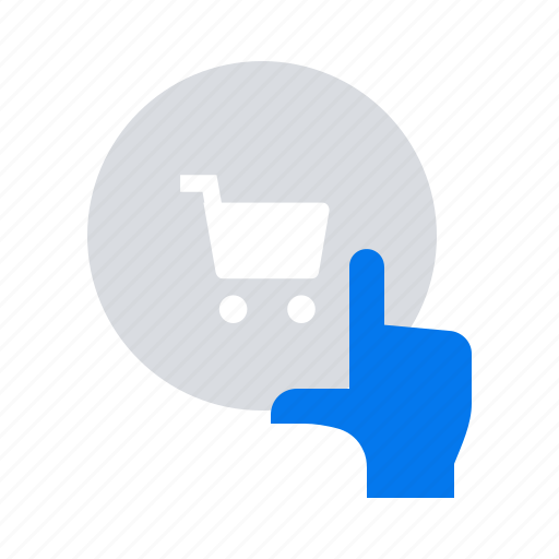 ecommerce, hand, online shop icon