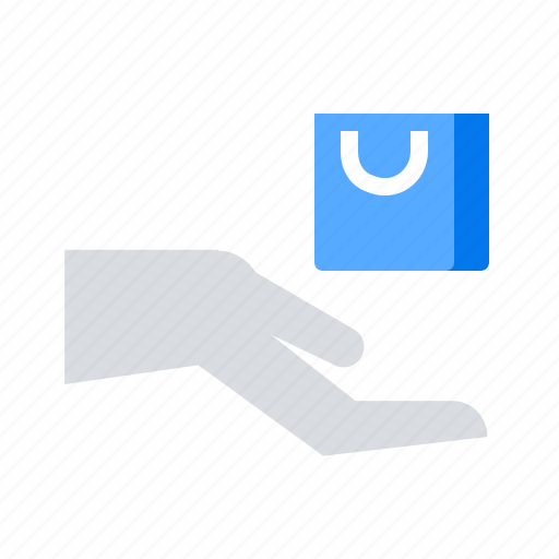 give, hand, shopping bag icon