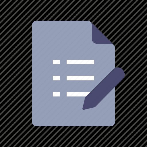 document, file, pen, todo list icon