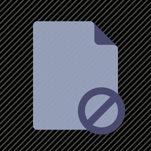 cancel, delete, document, file icon