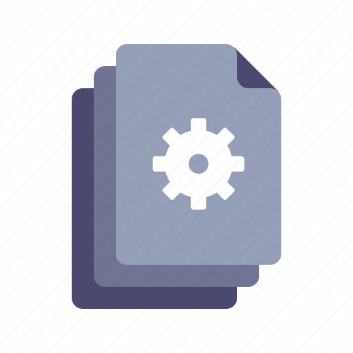 documents, files, gear, settings icon