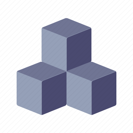 cubes, cubic, isometric, virtual icon
