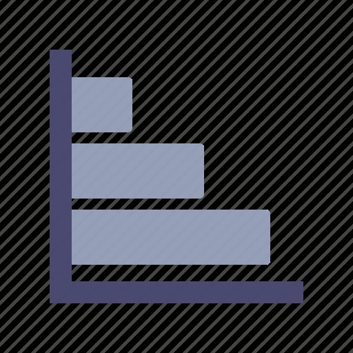 axis, bars, graph, horizontal icon