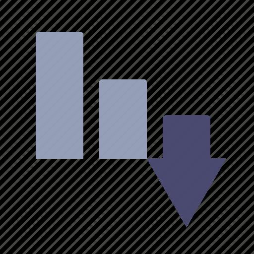 arrow, down, expences, loss icon
