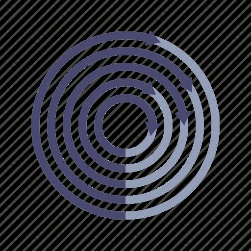 analytics, arrows, circles, comparison icon