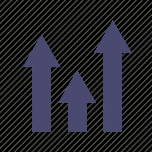 arrows, earning, profit, statistics icon