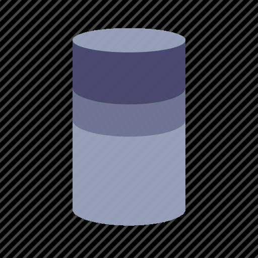 analytics, cylinder, isometric, percentage icon