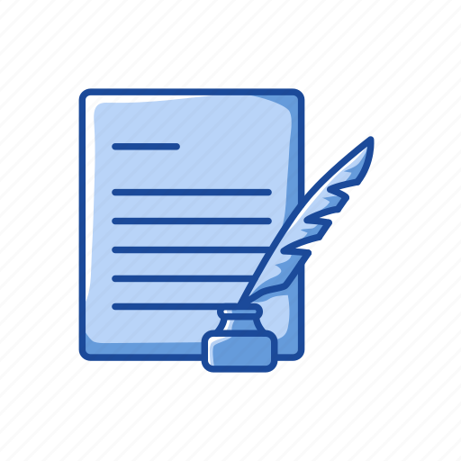 classic letter, feather, text, write icon